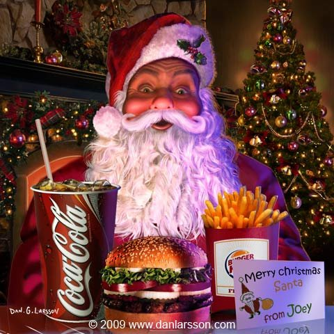 Julillustration Burgerking - Jultomte - Coca Cola