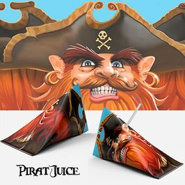 Kapten Röd - Piratillustration - till juicebox